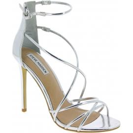 Steve Madden Damen stiletto sandalen hohem Absatz aus silbernem Kunstleder