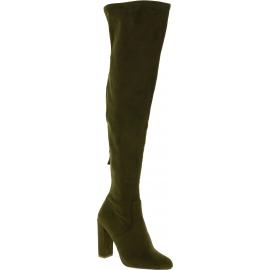 Steve Madden Overknee-Stiefel mit Absatz für Damen aus grünem Wildleder
