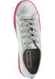 Steve Madden Niedrige Damen Schnürschuhe mit Plattform aus silbernem Canvas