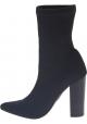 Steve Madden Damen Wadenhohe Stiefel Absatz aus schwarzem technischem Gewebe