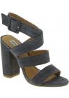 Steve Madden Damen Sandalen mit hohem Absatz Schnalle aus grauem Wildleder