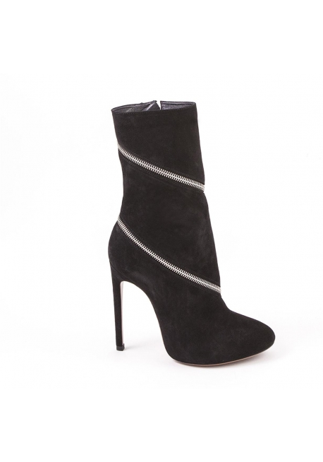 Alaïa Midcalf gezippt Booties aus schwarzem Wildleder Leder