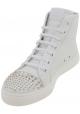 Gucci Mode Schnürstiefeletten mit Nieten für Damen aus weißem Kalbsleder