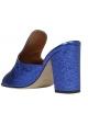 Paris Texas Damen Mules schuhe mit Absatz blauem laminiertem Kalbsleder