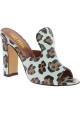 Paris Texas Mode Mules Schuhe mit hohem Absatz Leopardenleder made in Italy