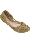 Melissa Damenmode Slip-On Ballerinas Schuhe aus Goldglitter gewebtem Gummi