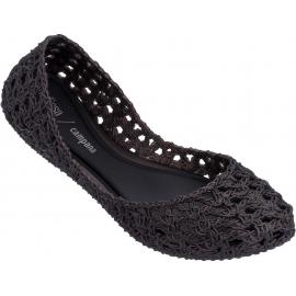 Melissa Damenmode Slip-On Ballerinas Schuhe aus schwarzem gewebtem Gummi