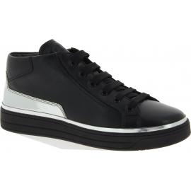 Prada High-Top-Sneakers schuhe für Damen aus schwarz-silbernem Kalbsleder