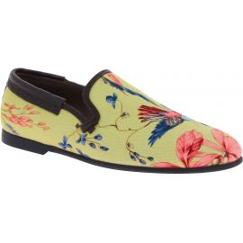 Dolce&Gabbana Herren Mokassins Schuhe aus beigem Canvas mit Blumendruck