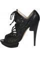 Nicholas Kirkwood Heels Booties aus schwarzem Leder Stoff