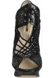 Nicholas Kirkwood Heels Booties in schwarzem Leder Stoff