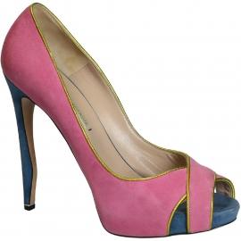 Nicholas Kirkwood Peep Toe Schuhe aus pinkem Wildleder