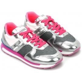 Hogan Low-Top-Sneakers Schuhe für Damen aus silbernem und pinkfarbenem Leder