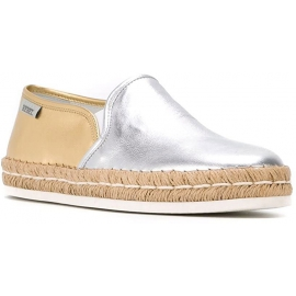Hogan Espadrilles Mode Schuhe für Damen aus silbernem und goldenem Leder