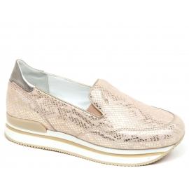 Hogan Slip-On-Wedges-Schuhe für Damen aus hellrosa laminiertem Kalbsleder