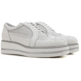 Hogan Keile Mode Schnürschuhe für Damen aus weißem Leder und Stoff