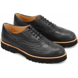 Hogan Damen Brogues Schnürschuhe Oxford Schuhe schwarz Leder made in Italy