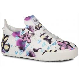 Hogan Damen Sneakers Schuhe in mehrfarbigem Leder Blumenmuster mit Perlen