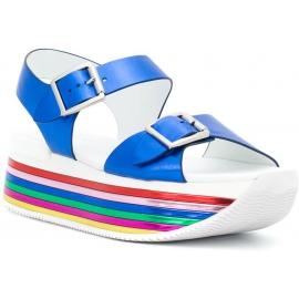 Hogan Damen Regenbogenkeile Sandalen mit Schnallen blau laminiertes Kalbsleder