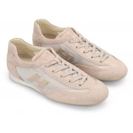 Hogan Mode Sneakers Schnürschuhe für Damen aus hellrosa Leder und Stoff