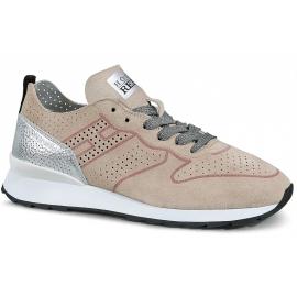 Hogan Sneakers Schnürschuhe für Damen aus hellrosa grauem Wildleder