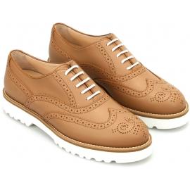 Hogan Damen Brogues Schnürschuhe Oxfords Schuhe aus hellbraunem Leder