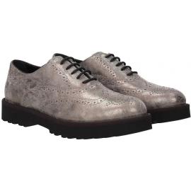 Hogan Damen Schnürschuhe Oxfords Schuhe aus grau laminiertem Kalbsleder