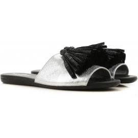 Hogan Niedrige Sandalen für Damen aus silberlaminiertem Kalbsleder mit Quasten