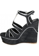 Gianvito Rossi wedges Sandalen im Denim-Stoff
