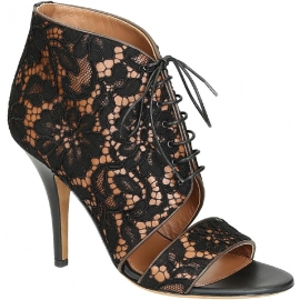 Givenchy high Heel schwarze Spitze Stoff Sandalen Schuhe