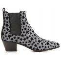 Saint Laurent Ankle Boots Anthrazit Glitzer