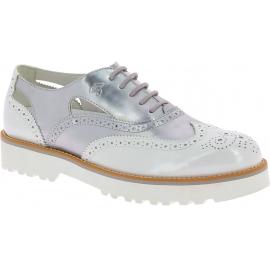 Hogan Brogues Schnürschuhe mode für Damen aus silbern weißem Lackleder