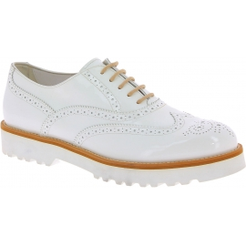 Hogan Damen Brogues Schnür schuhe mit runden Zehen aus weißem Lackleder