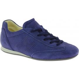 Hogan Low-Top-Sneakers für Damen mit abgerundeten Zehen aus blauem Wildleder