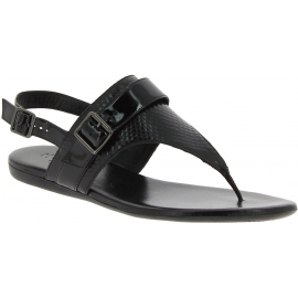 Hogan Flache sandalen für Damen aus schwarzem Leder mit Schnallen verschluss