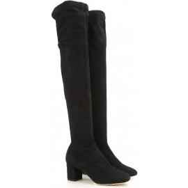 Dolce & Gabbana Fersen Oberschenkel Stiefel in schwarzem Wildleder