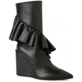 J.W. Anderson keilt midcalf Stiefel aus schwarzem Leder