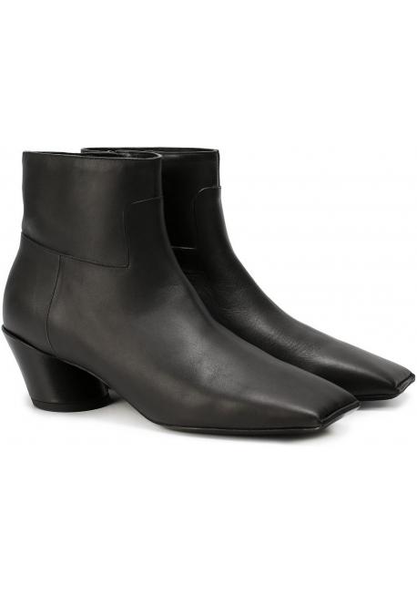 Balenciaga quadratische Zehe schwarze Leder Stiefeletten