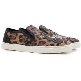 Dolce & Gabbana Damen Slip-Ons im Leoparden Kalbsleder