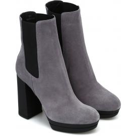 Hogan Damen Chelsea Stiefel mit High Heels aus grauem Wildleder