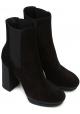 Hogan Damen Chelsea Stiefel mit High Heels aus schwarzem Wildleder