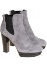 Hogan Damenstiefeletten High Heels und Plateau aus grauem Wildleder