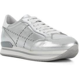 Hogan Damen Wedge Sneakers aus silbernem Leder