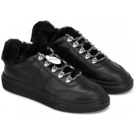 Gepolsterte Hogan Damen Sneakers aus schwarzem Leder und Kunstpelz