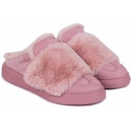Hogan Damen Winterschuhe aus rosa Leder und Fell