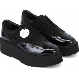 Hogan Modische Schnürschuhe für Damen aus schwarzem Lackleder und Wildleder