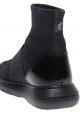 Hogan Hochelastische Damen Sneakers Schuhe aus schwarzem Leder und Stoff mit Glitzer