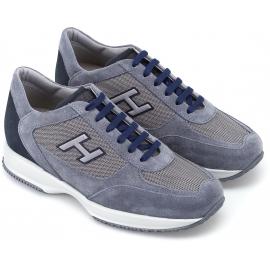 Hogan High Fashion Sneakers für Herren aus Nubu-Leder und hellblauem Stoff