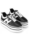 Hogan High Wedge Sneakers für Damen aus schwarzem Leder mit weißem Logo