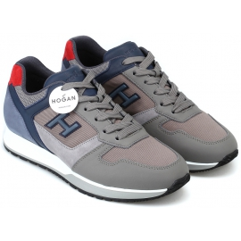 Hogan Modische Herren Sneakers aus grauem Leder und hellblauen Details